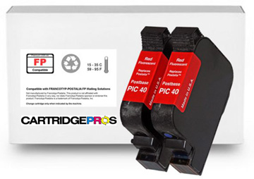 PIC40 High Yield Fluorescent Red Ink Cartridge Set for FP PostBase 20, 30, 45, 65, 85